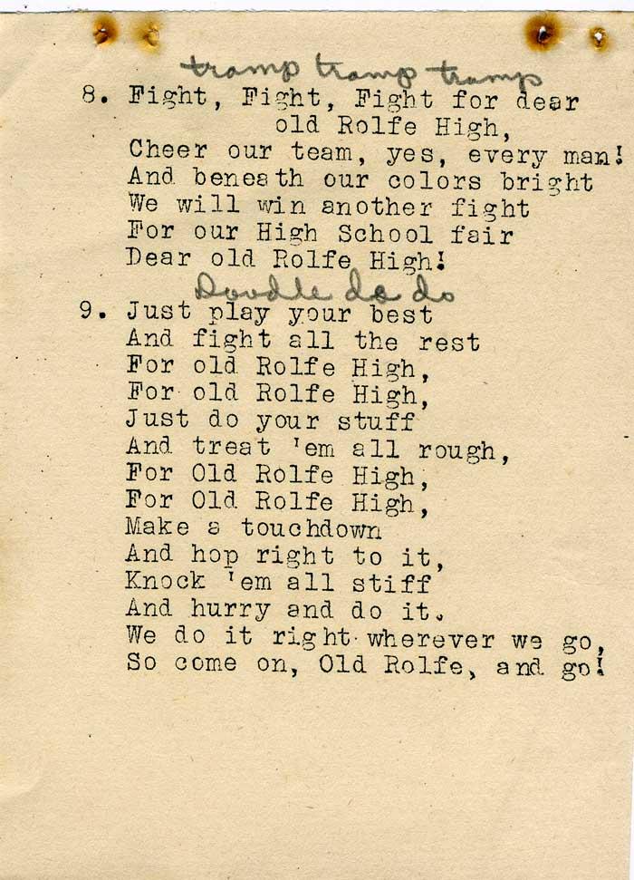 Lyric high school fight song lyrics : Rolfe High School alumni web site